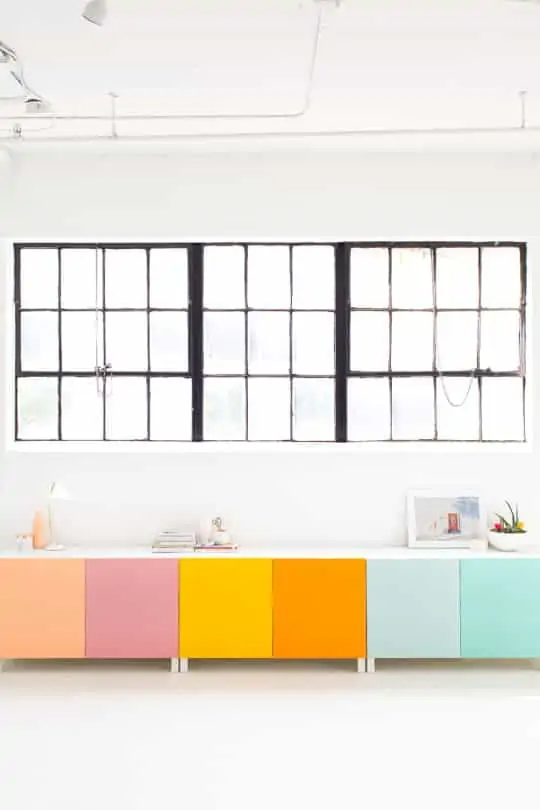 Ikea Besta cabinet with painted doors in bright colors