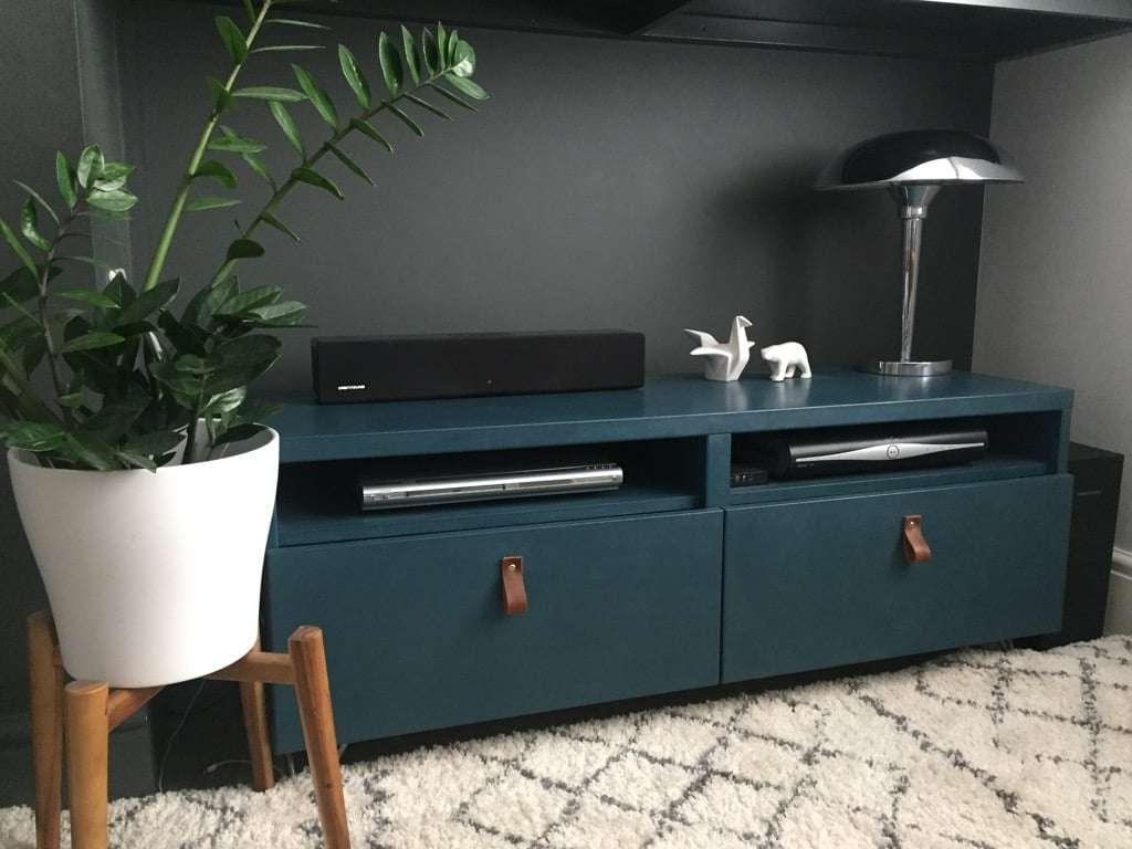 Cabinet with painted doors and leather drawer pulls