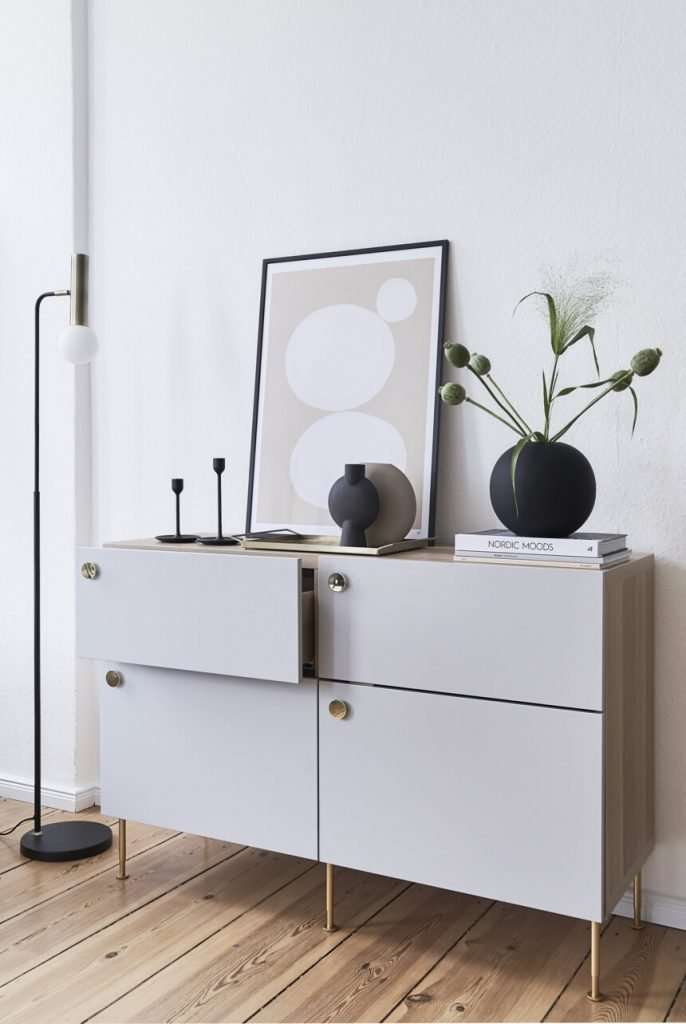 Ikea Besta hacked with custom grey drawer front and brass handles
