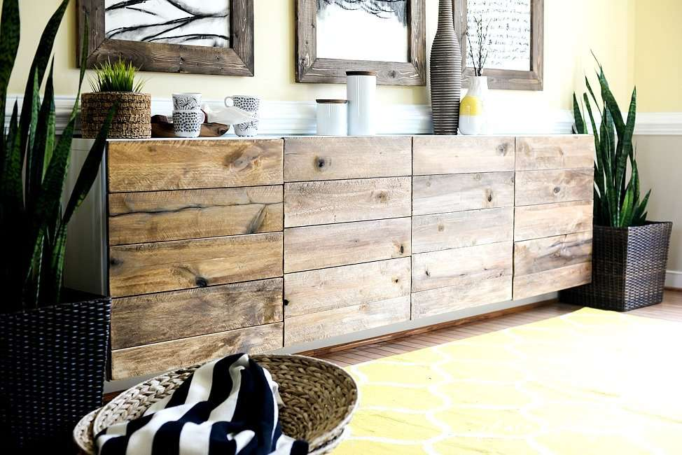 Ikea Besta with reclaimed wood fronts