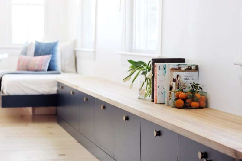 Ikea Besta painted in navy with a custom wood top