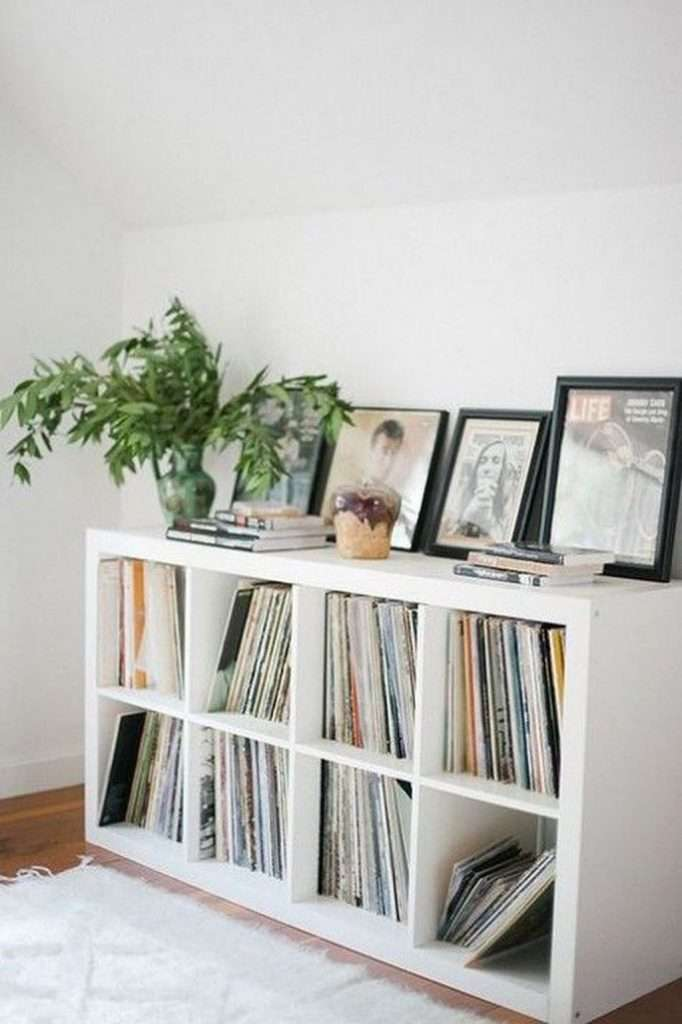 Ikea Kallax bookshelf storing vinyl records