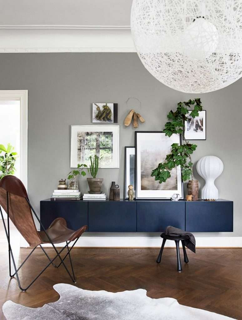Navy floating media console