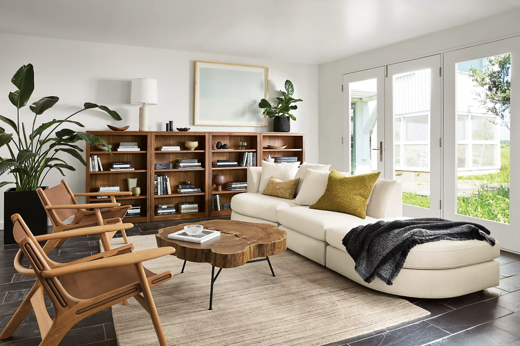 Bookcases in a modern living room