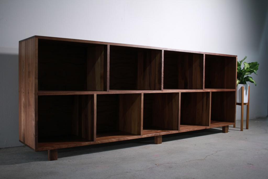 Handmade walnut vinyl record storage console